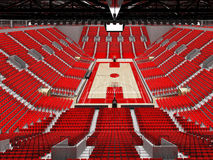 3D render of beautiful sports arena for basketball with red seats. 3D render of beautiful sports arena for basketball with floodlights and red seats and VIP Stock Image