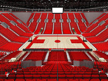 3D render of beautiful sports arena for basketball with red seats. 3D render of beautiful sports arena for basketball with floodlights and red seats and VIP Royalty Free Stock Photos