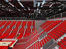 3D render of beautiful sports arena for basketball with red seats. 3D render of beautiful sports arena for basketball with floodlights and red seats and VIP Royalty Free Stock Image
