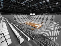 3D render of beautiful sports arena for basketball with white seats. 3D render of beautiful sports arena for basketball with floodlights and white seats and VIP Royalty Free Stock Images