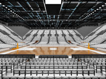 3D render of beautiful sports arena for basketball with white seats Stock Photos