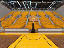 3d render of beautiful sports arena for basketball with yellow seats and VIP boxes Royalty Free Stock Photos