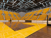 3d render of beautiful sports arena for basketball with yellow seats and VIP boxes Royalty Free Stock Photo