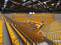 3d render of beautiful sports arena for basketball with yellow seats and VIP boxes Royalty Free Stock Photography