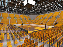3d render of beautiful sports arena for basketball with yellow seats and VIP boxes Stock Photos