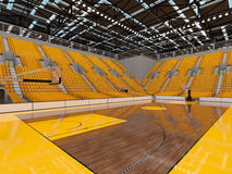3d render of beautiful sports arena for basketball with yellow seats and VIP boxes Stock Image