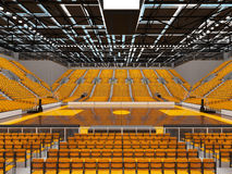 3d render of beautiful sports arena for basketball with yellow seats and VIP boxes Stock Images