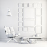 3d render of beautiful white interior Stock Images