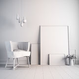 3d render of beautiful white interior Royalty Free Stock Photography