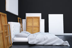 3d render bedroom with a bed and the pictures on the floor and wall. Mockup studio artist. Royalty Free Stock Images