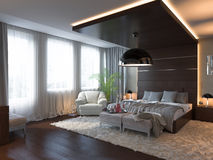3d render of bedroom interior design in a contemporary style. Stock Image