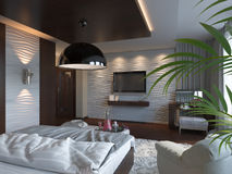 3d render of bedroom interior design in a contemporary style. Stock Photos