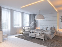 3d render of bedroom interior design in a contemporary style. Stock Images