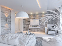3d render of bedroom interior design in a contemporary style. Royalty Free Stock Photography