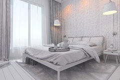3d render of bedroom interior design in a contemporary style. Stock Photography