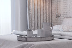 3d render of bedroom interior design in a contemporary style. Royalty Free Stock Images