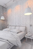 3d render of bedroom interior design in a contemporary style. Stock Photo