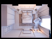 3d render of bedroom interior design in a modern classic style. Stock Photography