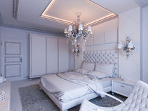 3d render of bedroom interior design in a modern classic style. Royalty Free Stock Photo