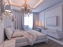 3d render of bedroom interior design in a modern classic style. Royalty Free Stock Photos