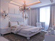 3d render of bedroom interior design in a modern classic style. Stock Photo