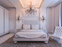 3d render of bedroom interior design in a modern classic style. Royalty Free Stock Image