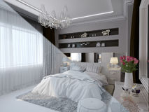 3d render of bedroom interior design in a modern classic style. Stock Images