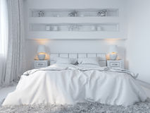 3d render of bedroom interior design in a modern style. Royalty Free Stock Images