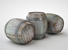 3d render of the beer barrels. Beautiful wine barrels created in 3D program, rendered on white background Royalty Free Stock Image