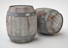 3d render of the beer barrels. Beautiful wine barrels created in 3D program, rendered on white background Stock Images