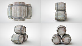 3d render of the beer barrels in four projections Royalty Free Stock Image