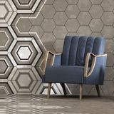 3d render of beige interior with hexagonal panels pattern on wall and armchair Stock Photo