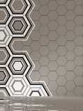 3d render of beige interior with hexagonal panels pattern on wall Royalty Free Stock Images