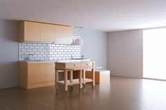 3d render beige kitchen in white room Stock Photo