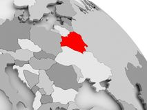 Map of Belarus. 3D render of Belarus in red on grey political globe. 3D illustration Royalty Free Stock Image
