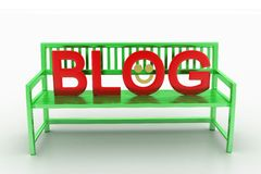 3d render of bench with blog text Royalty Free Stock Photography