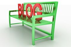 3d render of bench with blog text Stock Images