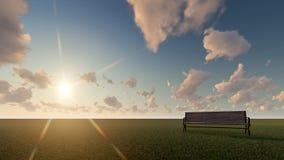 Bench  at sunrise. 3d render  bench in sunrise landscabe Stock Images