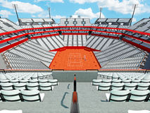 3D render of beutiful modern tennis clay court stadium with white seats Royalty Free Stock Image