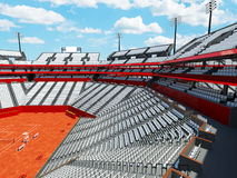 3D render of beutiful modern tennis clay court stadium with white seats Royalty Free Stock Images