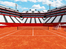 3D render of beutiful modern tennis clay court stadium with white seats Royalty Free Stock Photos