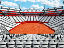 3D render of beutiful modern tennis clay court stadium with white seats Stock Photos