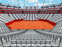 3D render of beutiful modern tennis clay court stadium with white seats Stock Photography