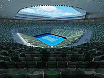 3D render of beutiful modern tennis grand slam lookalike stadium. For fifteen thousand fans royalty free illustration