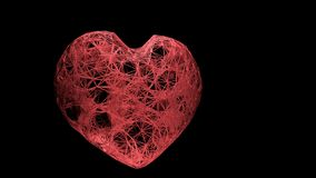3D render Big red plexus heart devoted to Valentine`s Day stock images