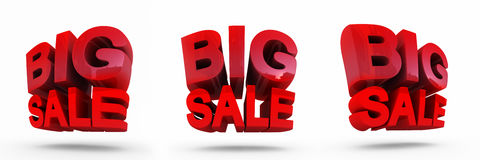 3D render of Big Sale Word. Concept of discount. It`s better to use for promotion. royalty free illustration