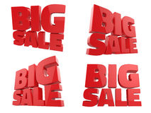 3D render of Big Sale Word. 4 views on white background Stock Images