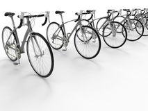 3D render - bikes arranged in a line. 3D render illustration of multiple bikes arranged in a line. The composition is isolated on a white background with shadows stock illustration
