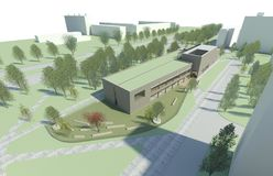 3D render - bird eye view to the modern building vector illustration
