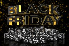 3d render - black cubes with percentage - black friday - golden. Black cubes with percentage signs on a reflective bottom over it in capital letters `black Stock Image